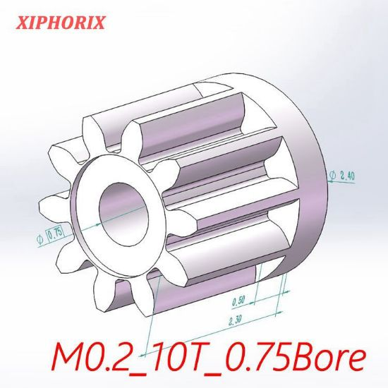 Picture of Module 0.2 10 teeth plastic pinion fit 0.8mm shaft of motor