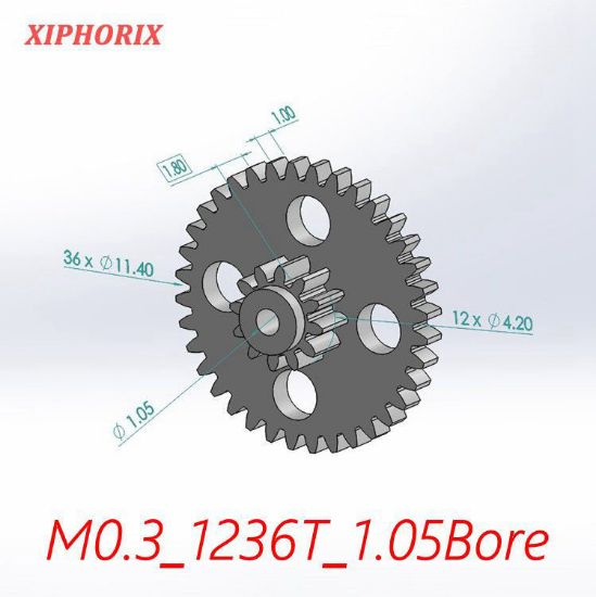 Picture of Module 0.3 12/36 teeth plastic double tooth gear, sliding fit 1.0mm shaft