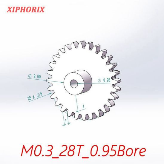 Picture of Module 0.3 28 teeth plastic  gear,  interference fit 1.0mm shaft