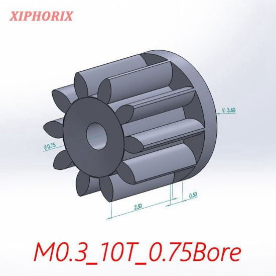 Picture of Module 0.3 10 teeth plastic pinion fit 0.8mm shaft of motor