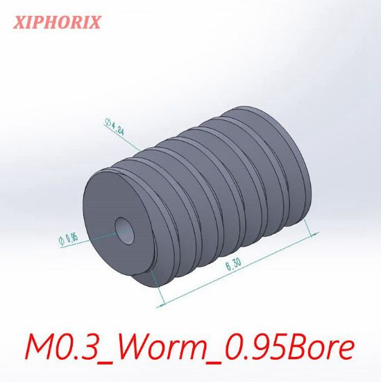 Picture of Module 0.3  plastic worm,  fit 1.0mm shaft of motor