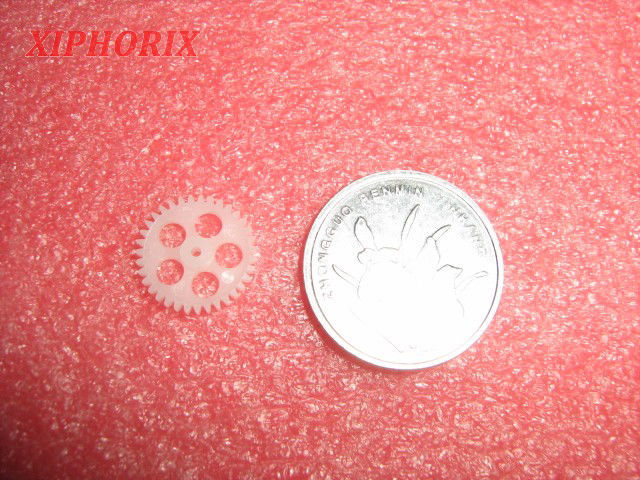 Picture of Module 0.3 35 teeth plastic  gear,  interference fit 1.0mm shaft