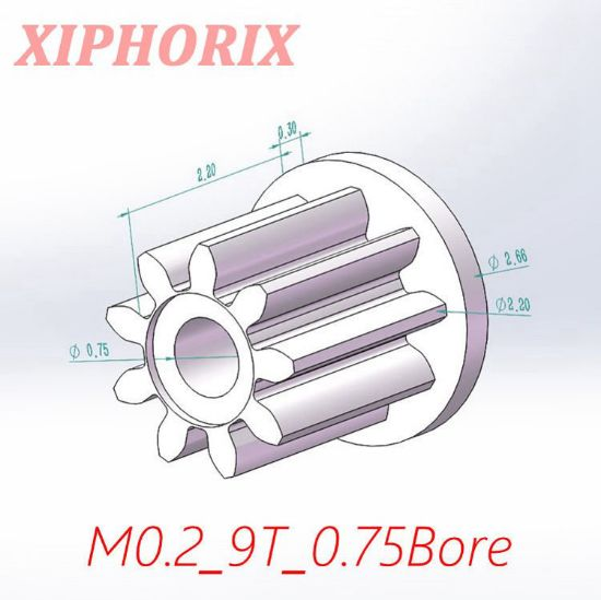 Picture of Module 0.2 9 teeth plastic pinion, fit 0.8mm shaft of motor
