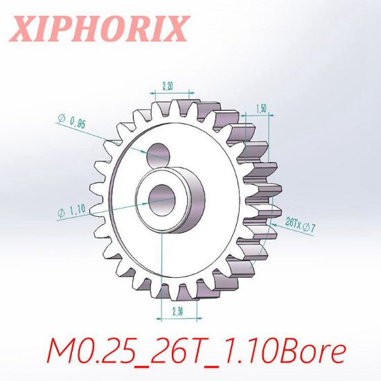 Picture of Module 0.25 26 teeth plastic gear,  sliding fit 1.0mm shaft