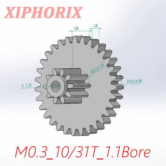Picture of Module 0.3 10/31 teeth plastic double tooth gear, sliding fit 1.0mm shaft
