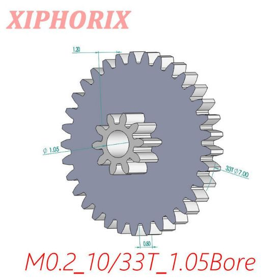 Picture of Module 0.2 M0.2 10/33 Teeth Plastic Double Tooth Gear, Sliding Fit 1.0mm Shaft